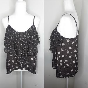 LC Lauren Conrad brown floral ruffle top small